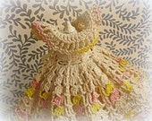 vintage crochet doll dress . crocheted by hand ivory with variegated pink and yellow long dress with 2 pair matching panties!