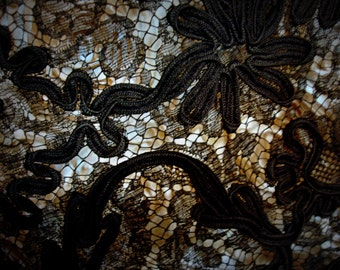 black soutache embroidery lace remnant black on black heavy lace