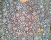 Two-piece cotton flannel snowflake set size 12m