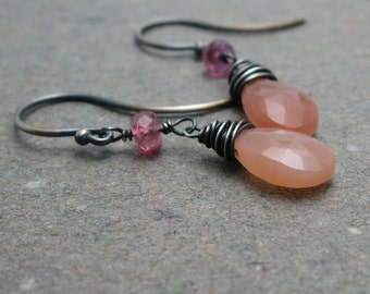Peach Moonstone Earrings Pink Tourmaline Earrings Dangle Earrings Oxidized Sterling Silver Earrings Gift for Her