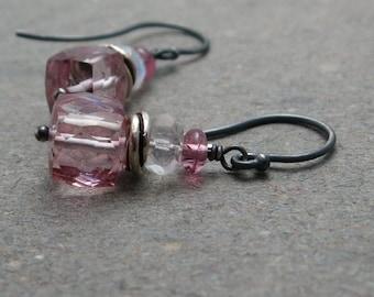 Pink Quartz Earrings Geometric Jewelry Moonstone Earrings Pink Tourmaline Earrings Oxidized Sterling Silver Earrings Cube Earrings