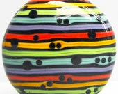 Zuma Stripey Puffy Patty--Handmade Lampwork Glass Bead
