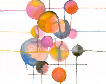 "Fine Art, Watercolor, Drops-8""X10"" Print by Laura Gunn"