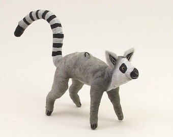 Vintage Style Spun Cotton Lemur Ornament/Figure