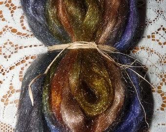 Hand Dyed Glitter, Shiny Nylon roving / 1 oz. / Vintage