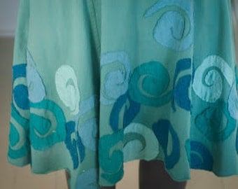 Turquoise Blue Jersey Dress with Ocean Spiral Appliques