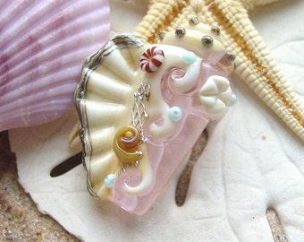 Pale Pink Conch Shell Focal Bead  SRA Handmade Lampwork Bead