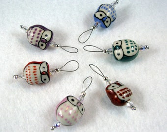 Multi-Colored Ceramic Owl Stitch Markers - Set of 6 -  US 10 - Item No. 961
