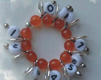 SnagFree Circular Row Counter Ring Style with Orange Czech Glass