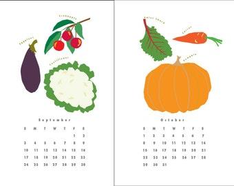 2018 Calendar Farmers Market Produce Wall calendar