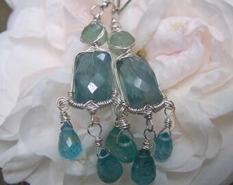 Apatite sterling silver, wrap Chandelier earrings