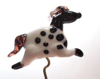Glass horse bead, Lampwork glass appaloosa black & white horse pendant, handmade miniature ornament, animal bead, glassbead, lamp work glass