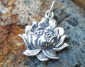 Lotus Flower Charm - Sterling Silver Yoga Jewelry - Blooming Realistic Lotus Flower Necklace