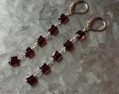 Garnet Sterling Silver Earrings, Linear Earrings, Wire Wrapped Garnet Earrings, Gemstone Dangle Garnet Earrings, January Birthstone Earrings