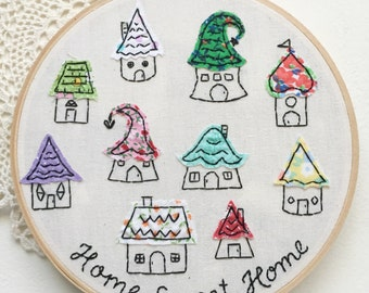 Embroidered Art Hoop - Home Sweet Home