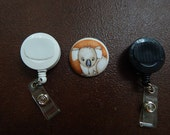 Fabric Covered Button for Clip on Retractable Badge Reel - Koala Bear
