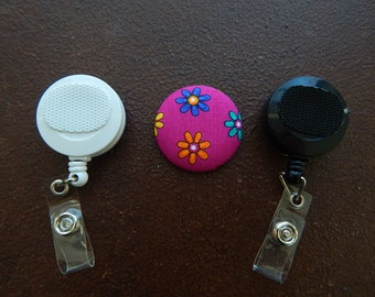 Fabric Covered Button for Clip on Retractable Badge Reel - Flowers