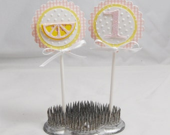 Pink Lemonade Cupcake Toppers- Set of 12- Girl 1st Birthday