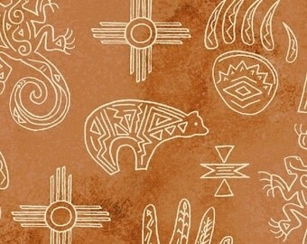 Native Spirit Southwest Motifs Terra Cotta, 1 Yard