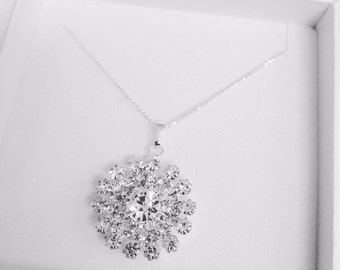 Silver diamante starburst necklace