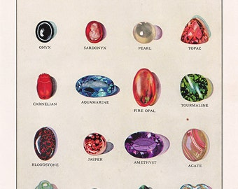 vintage gemstones and precious stones, 1940's book illustration, a digital download sheet,  no. 41