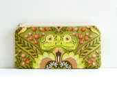 Zipper Pouch, Coin Purse, Women and Teens, Frog Prince in Olive, Tula Pink, Prince Charming