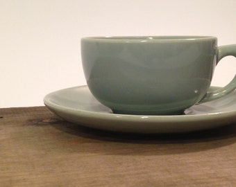 Bauer Cup and Saucer Set ~ Light Blue Cup and Saucer ~ Cup and Saucer Set ~ Tea Cup Saucer ~ Bauer Pottery ~ California Pottery