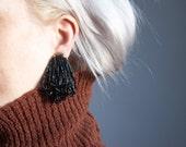 coming soon - black beaded fringe earrings / vintage 80s earrings / black statement earrings / 912a