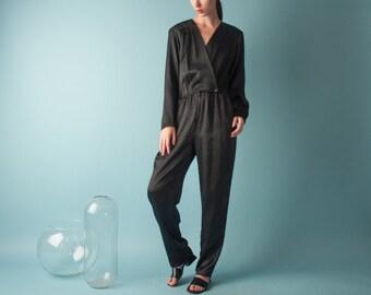 black satin tuxedo wrap jumpsuit / slouchy jumpsuit / satin chic jumpsuit / s / 1956d / B3