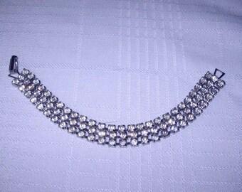 Vintage three strand rhinestone bracelet