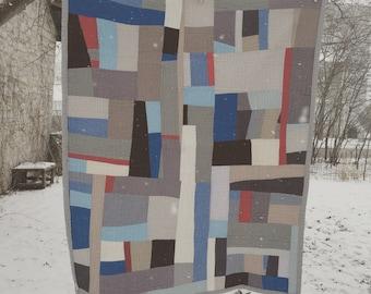 lap throw quilt -- modern improv -- grey blue tan red