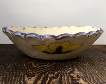 Decorative Ruffled Rim Bowl White with Yellow Flowers Stoneware Clay Pottery