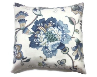 Decorative Pillow Cover Shades of Blue Taupe Natural Olive Green Bold Floral Same Fabric Front and Back Toss Throw Accent 18x18 inch x