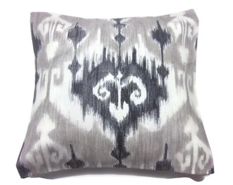 Decorative Pillow Cover Black Gray Taupe Off White Ikat Design Same Fabric Front/Back Toss Throw Accent Covers 18 x 18 inch x
