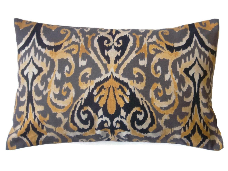 Decorative Lumbar Pillow Cover Black Ivory Yellow Gold Ikat