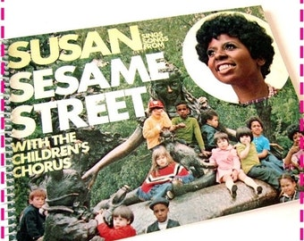 SALE 40% OFF--- SUSAN Sings Songs from Sesame Street Recycled Notebook / Upcycled Retro Record Album Cover Journal - Eco Friendly - Vintage