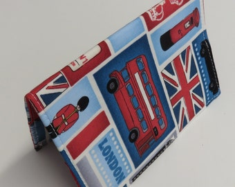 SAMPLE SALE - Passport Fabric Case Cover Travel Holiday Crusie - I Love London - Red White and Blue Fabric