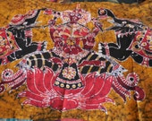 Batik Tablecloth Ethnic Elephants and Buddha Unique mustard yellow black and red