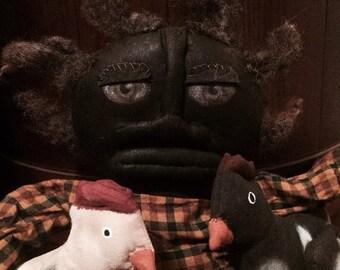 PreHalloweenSale Primitive Black Folk Art Doll Shirley & Her Chickens