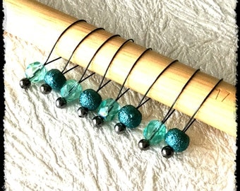 Snag Free Stitch Markers Large Set of 8 - Teal and Aqua Glass - N52 - Fits up to size US 17 (12.75) Knitting Needle