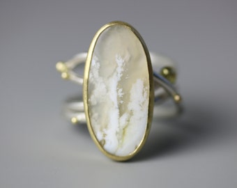 White Plume Agate on Swirled Band 18k Gold and Sterling Silver