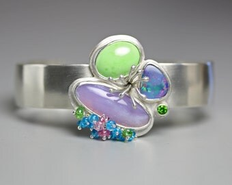 Boulder Opal, Amethyst Agate and Gaspeite Sprout Cuff