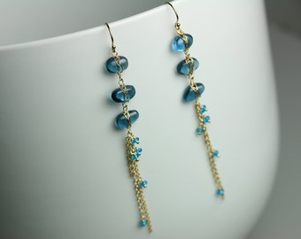 London Blue Topaz Linked Pebble Earrings . Long Chain Earrings .