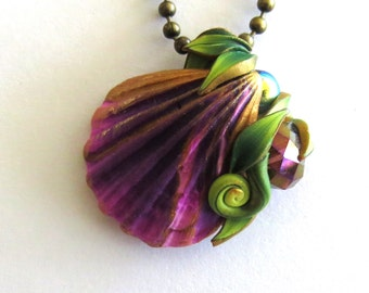 Purple Seashell Ocean Treasure Necklace, Polymer Clay Shell Pendant, Beach Jewelry