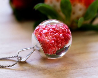 TAKE A BITE, Raspberry Necklace, Sterling Silver and Resin Jewelry