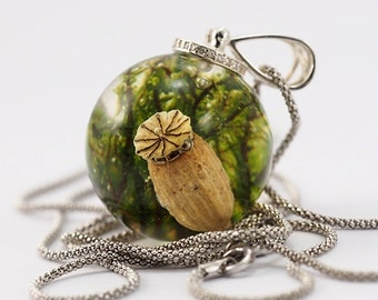 Nature Necklace with Moss and Poppy Seed/ reserved for CAROLINE :)