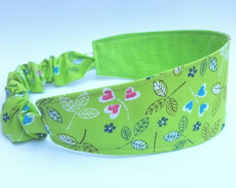 Happy Leaves Headband, Reversible Headband, Polka Dot Headband, Lime Green Head Band, Hair Wrap, Nature Headband, Stocking Stuffer for Women