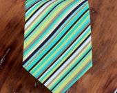 Boys green striped cotton necktie - green brown blue pin striped woven neck tie, infant baby necktie, toddler necktie, wedding neckie, child