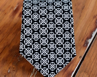 Mens Black Mini Medallion Necktie - men's black cotton necktie - men and teen boy necktie - wedding party necktie - suit accessory - necktie