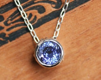 Tanzanite necklace, tanzanite pendant, anniversary gift for wife, blue tanzanite, sterling silver, bezel necklace, wrought ready to ship